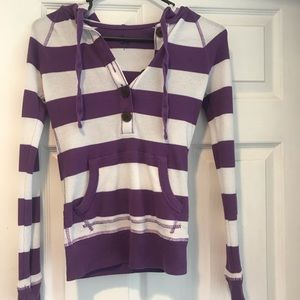 SO striped thermal shirt with hood sz small